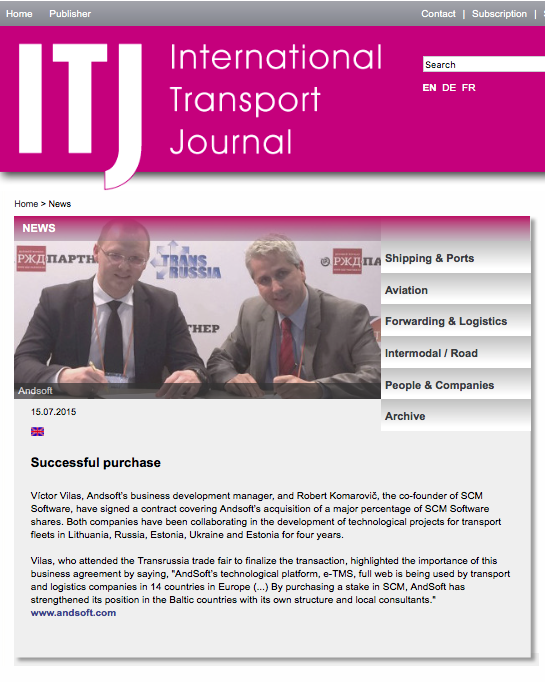 AndSoft International Transport Journal