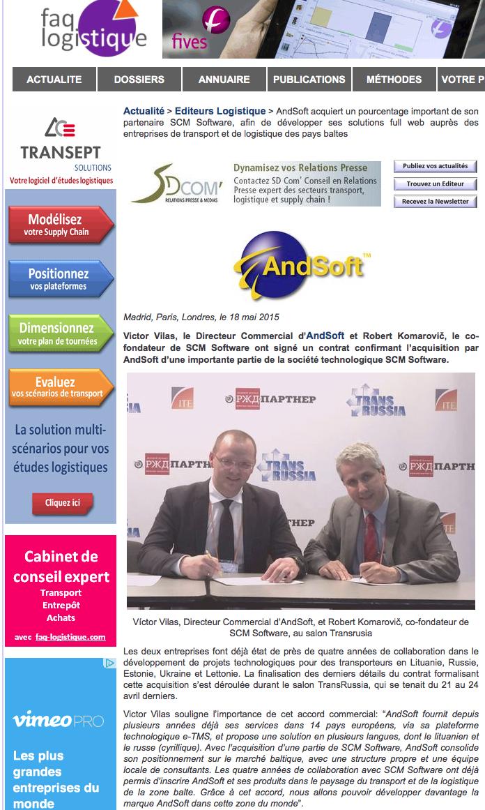 AndSoft acquiert un pourcentage important de son partenaire SCM Software, afin de développer ses solutions full web auprès des entreprises de transport et de logistique des pays baltes