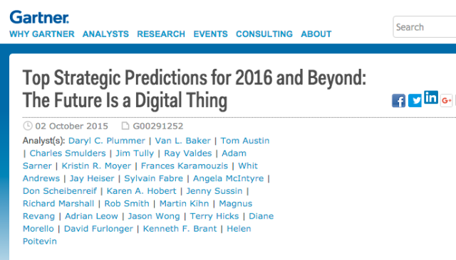 Gartner's top predictions for 2016 and beyond continue to offer a look into the digital future