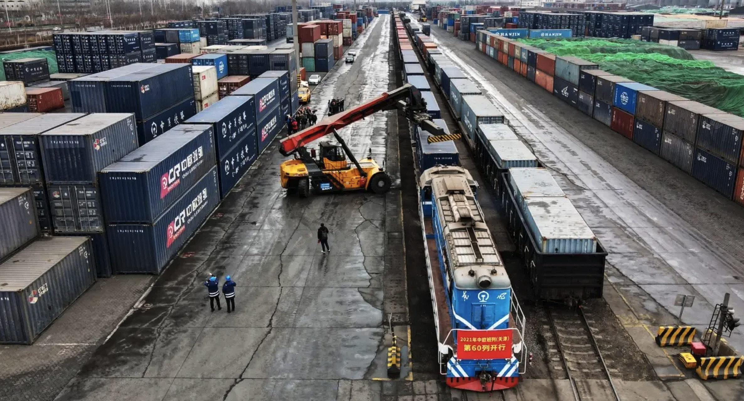 Freight train trips between China and Europe soared 70 percent on a yearly basis to 3,345 rides in the first quarter of this year